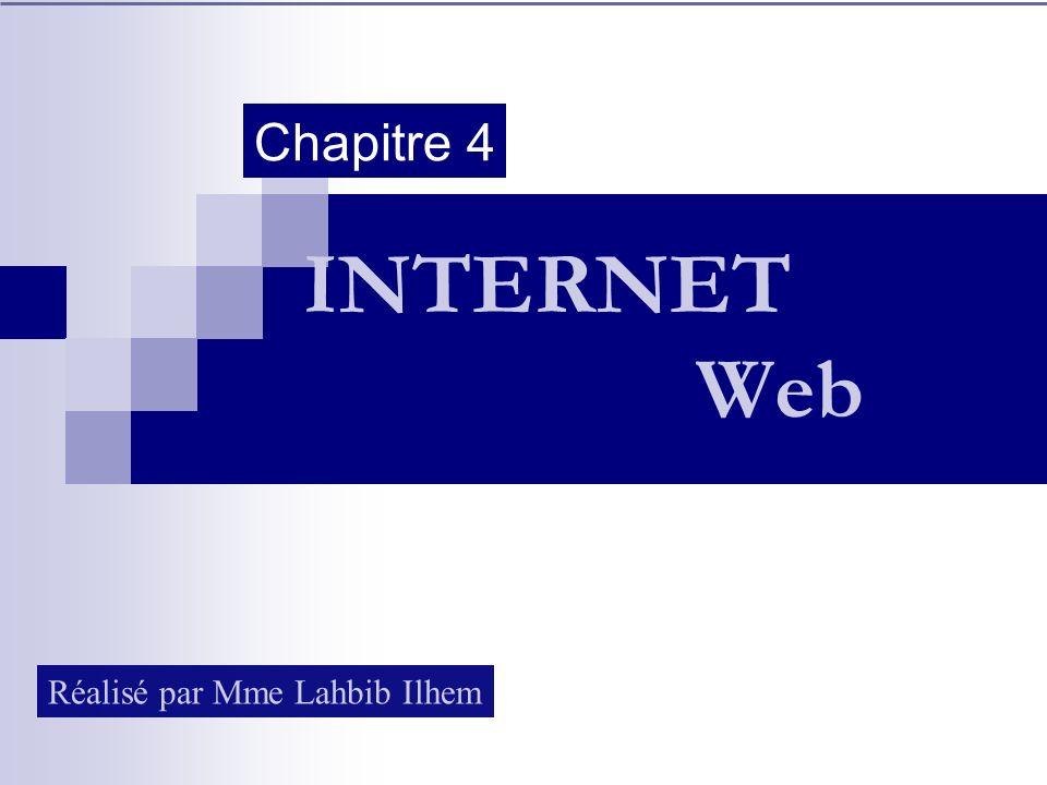 Chapitre 4 INTERNET Web Réalisé par Mme Lahbib Ilhem