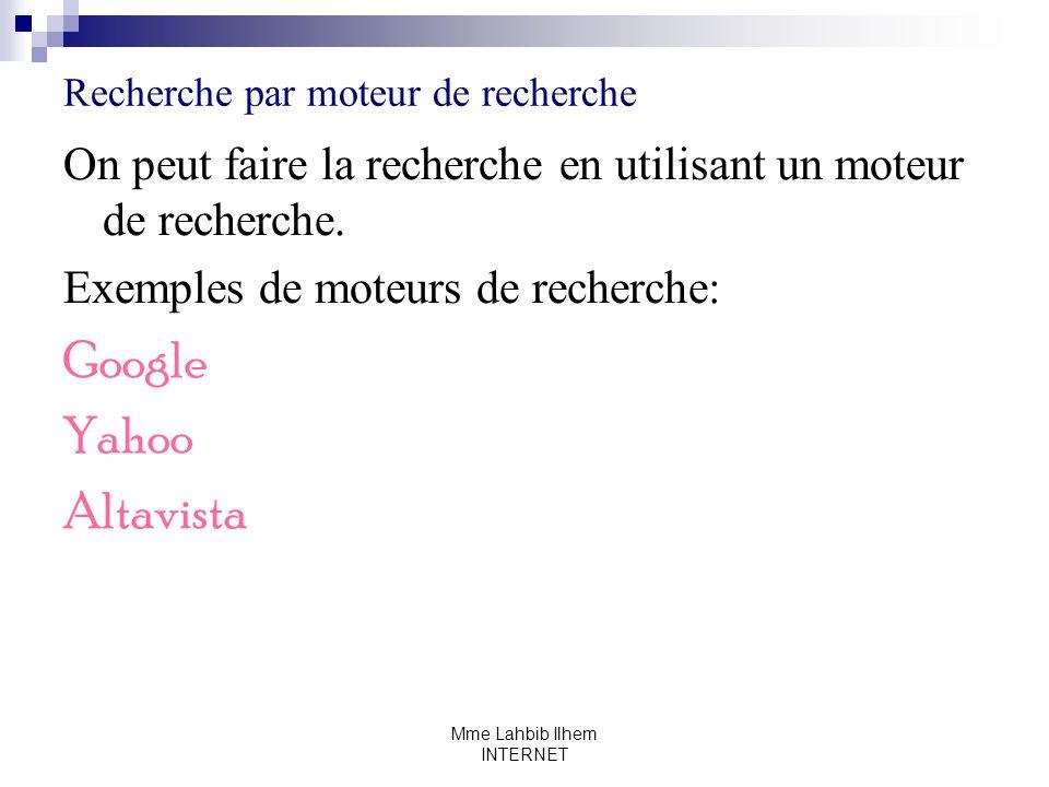 Recherche par moteur de recherche