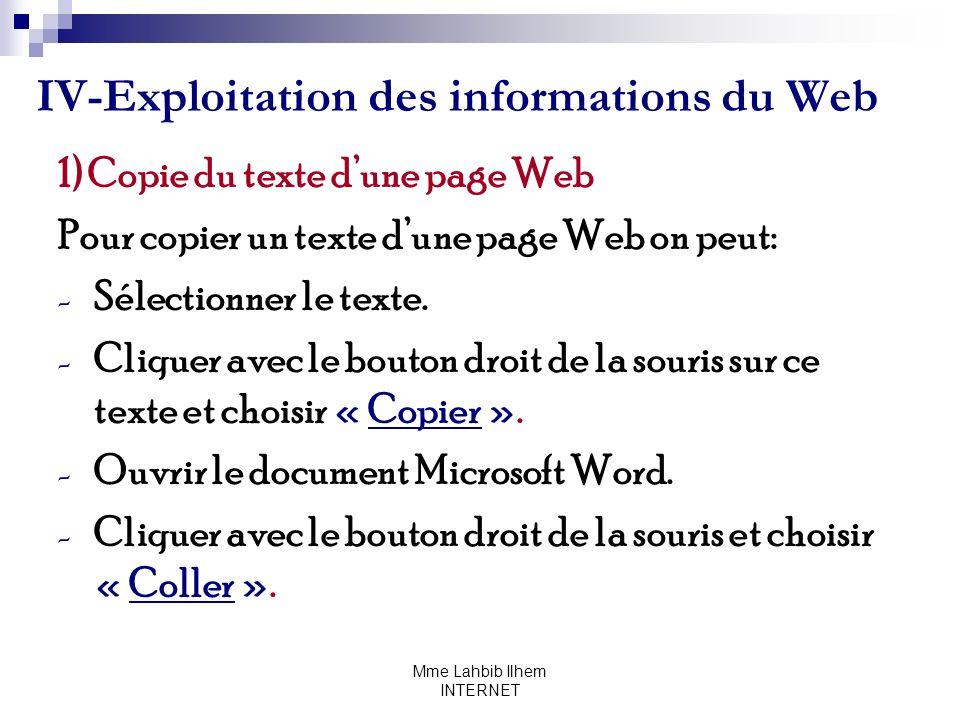 IV-Exploitation des informations du Web
