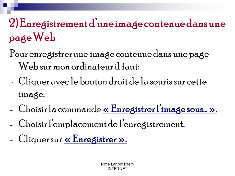 2) Enregistrement d'une image contenue dans une page Web