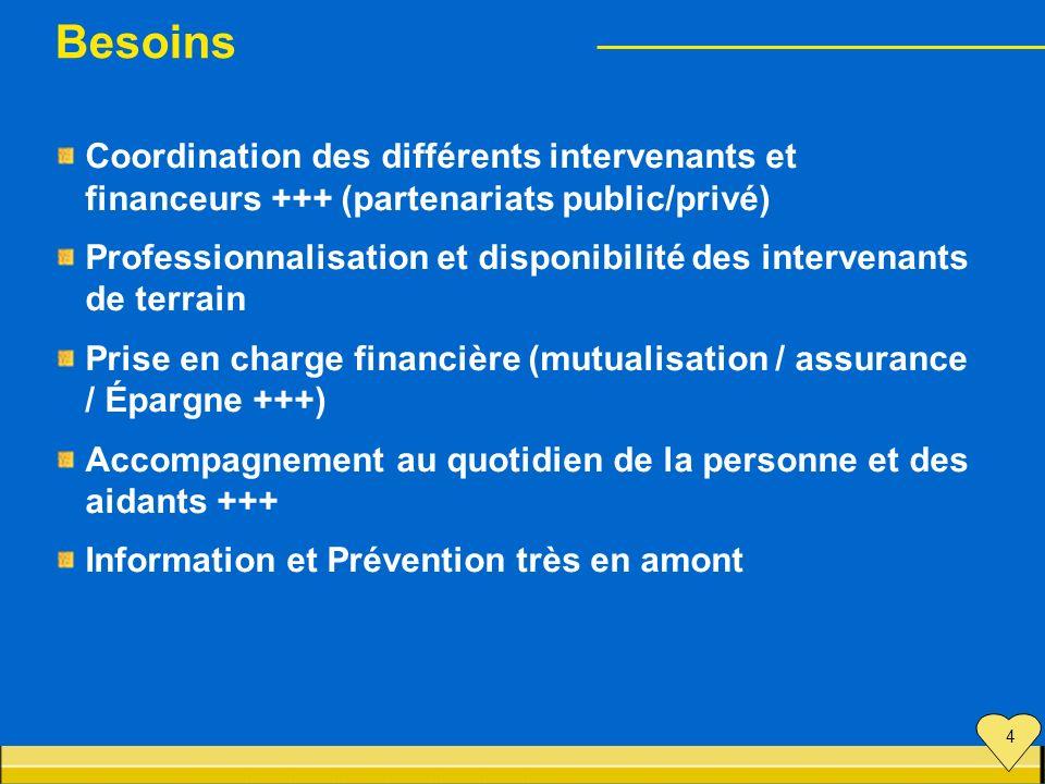 Besoins Coordination des différents intervenants et financeurs +++ (partenariats public/privé)