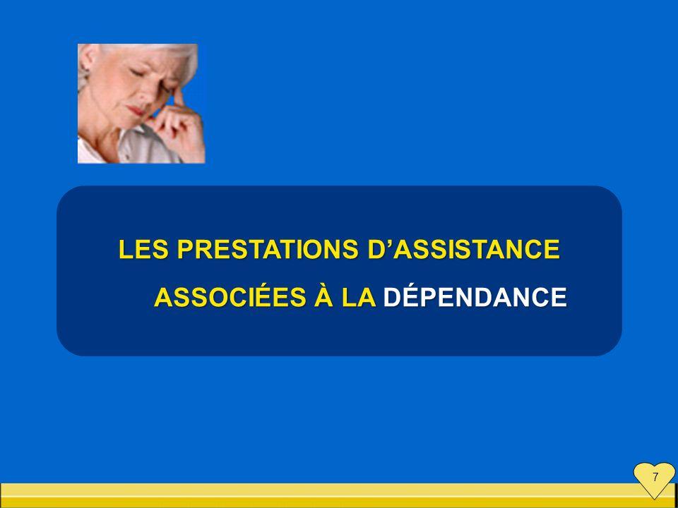 LES PRESTATIONS D'ASSISTANCE ASSOCIÉES À LA DÉPENDANCE