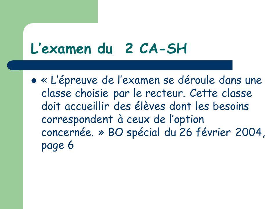 L'examen du 2 CA-SH