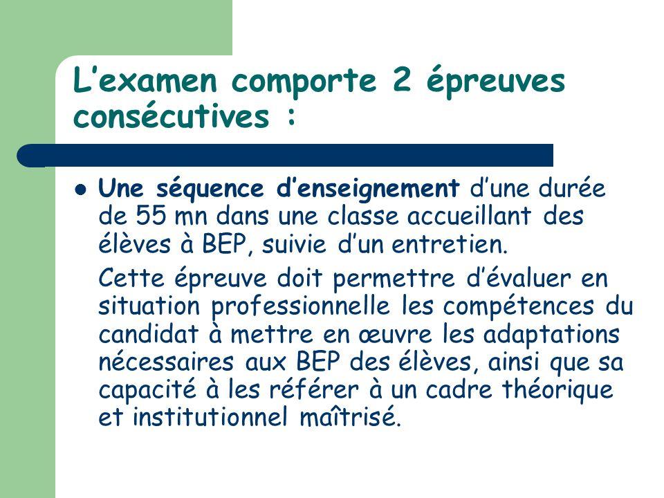 L'examen comporte 2 épreuves consécutives :
