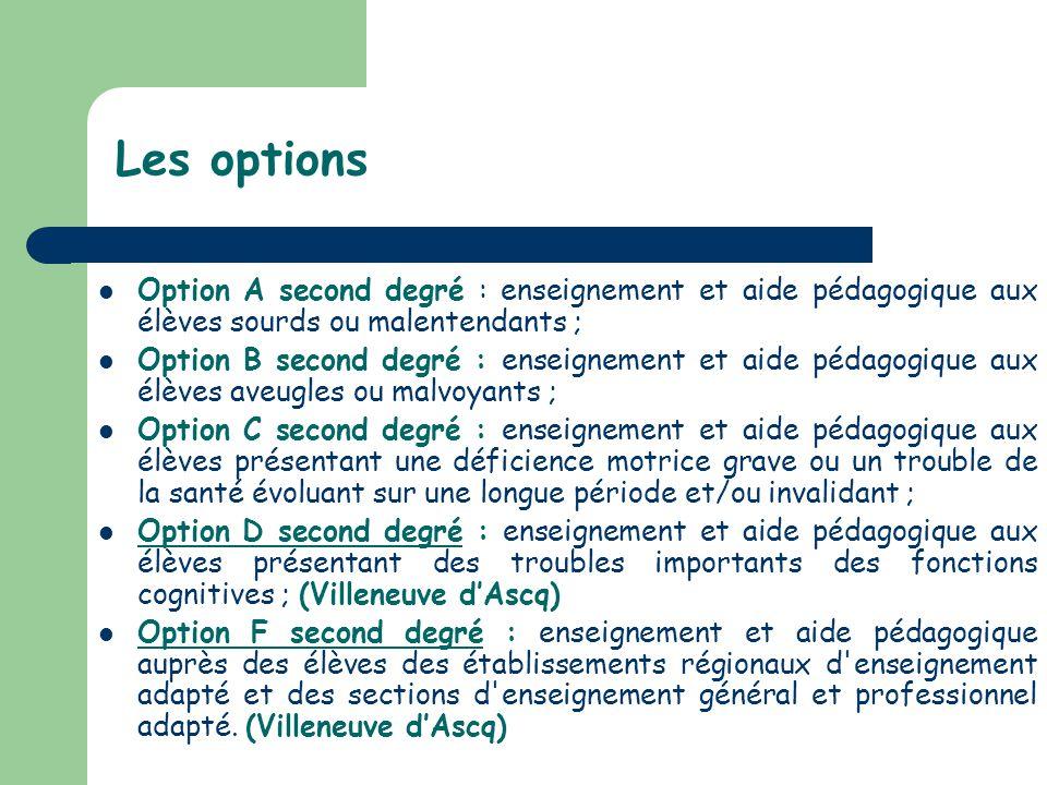 Les options Option A second degré : enseignement et aide pédagogique aux élèves sourds ou malentendants ;