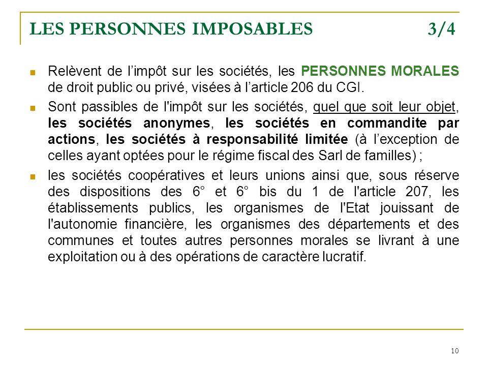 LES PERSONNES IMPOSABLES 3/4