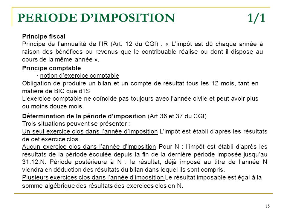 PERIODE D'IMPOSITION 1/1