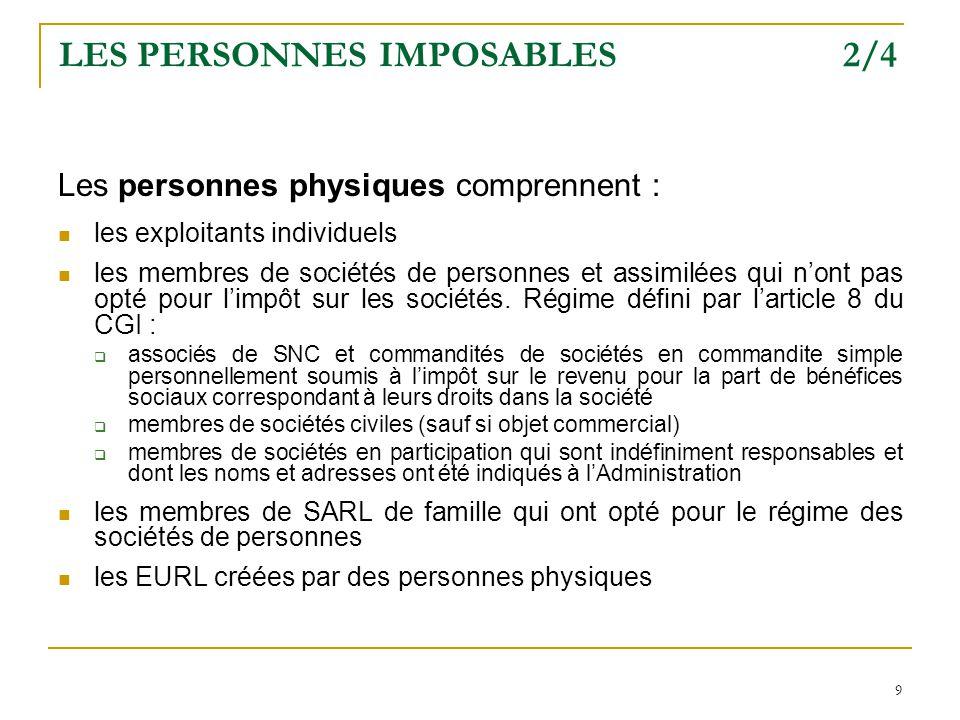 LES PERSONNES IMPOSABLES 2/4