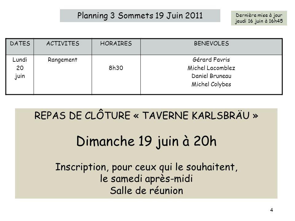 Dimanche 19 juin à 20h REPAS DE CLÔTURE « TAVERNE KARLSBRÄU »