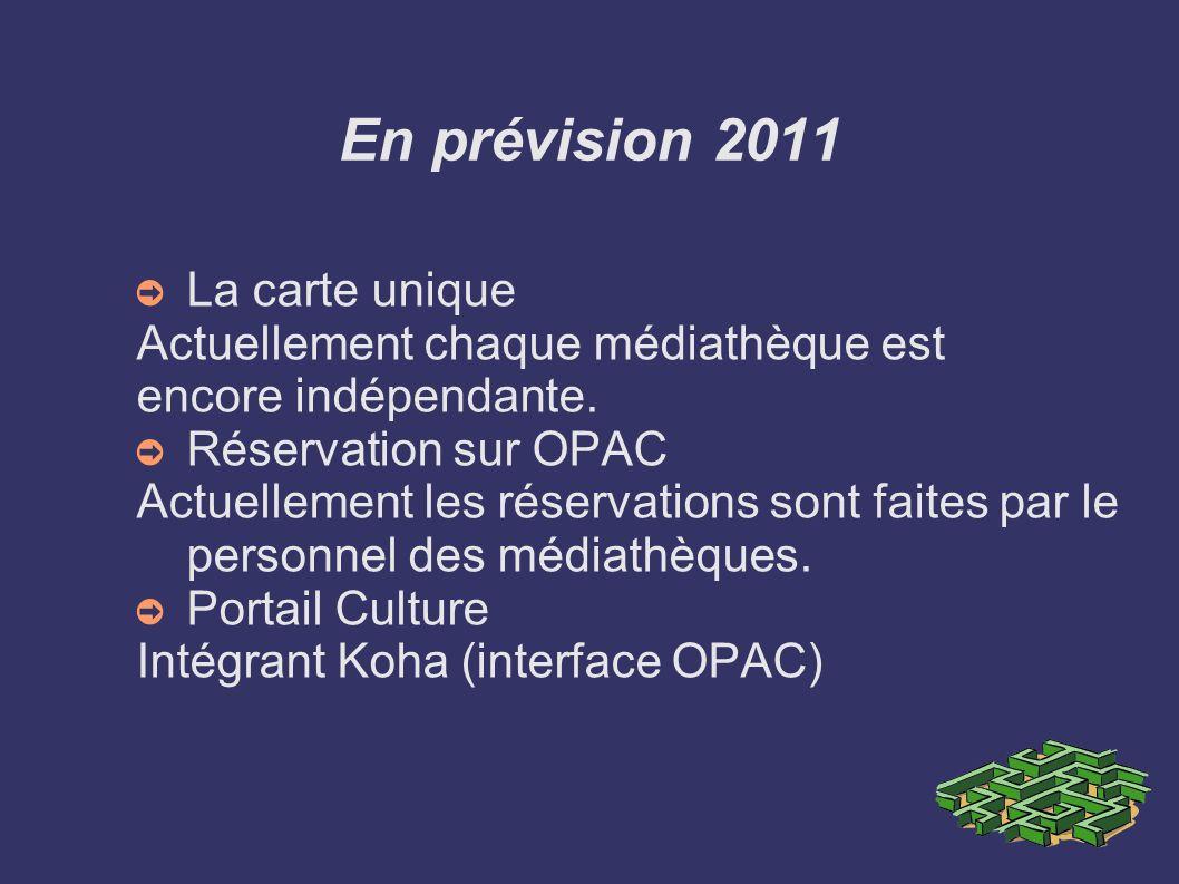En prévision 2011 La carte unique Actuellement chaque médiathèque est