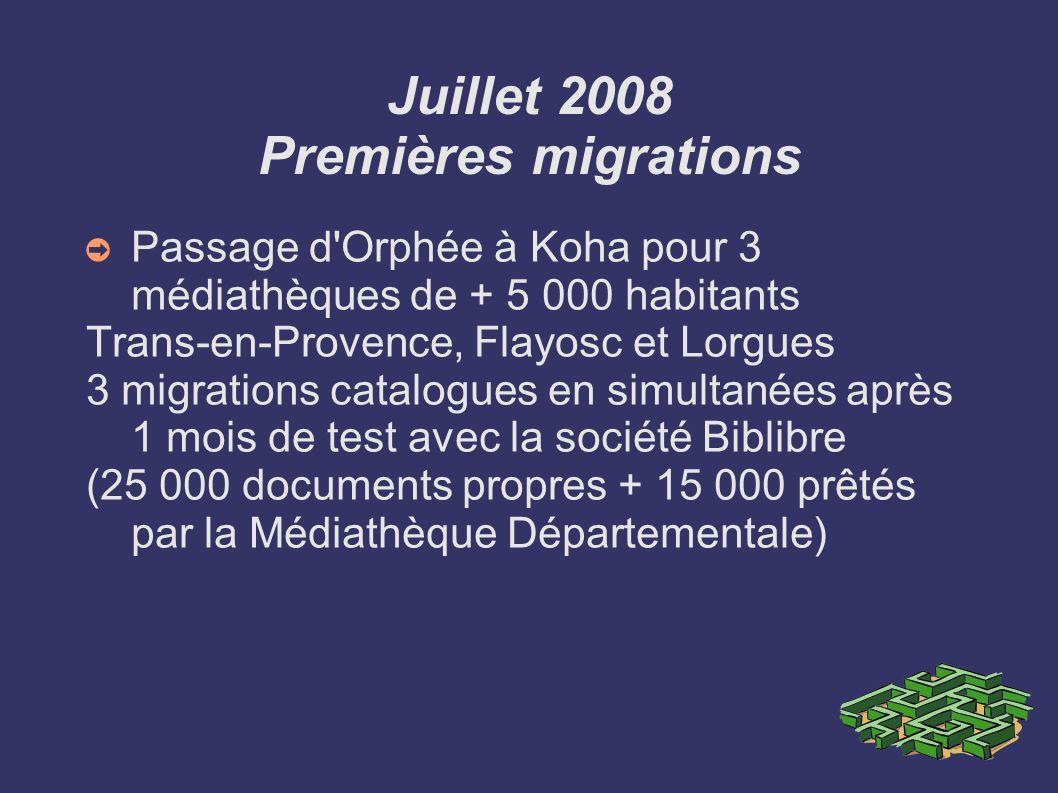 Juillet 2008 Premières migrations