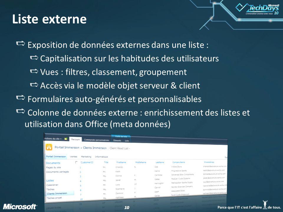 Liste externe Exposition de données externes dans une liste :