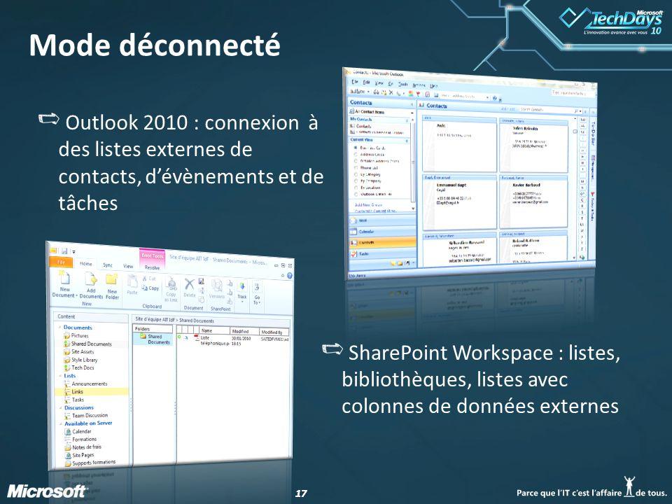 Mode déconnecté Outlook 2010 : connexion à des listes externes de contacts, d'évènements et de tâches.