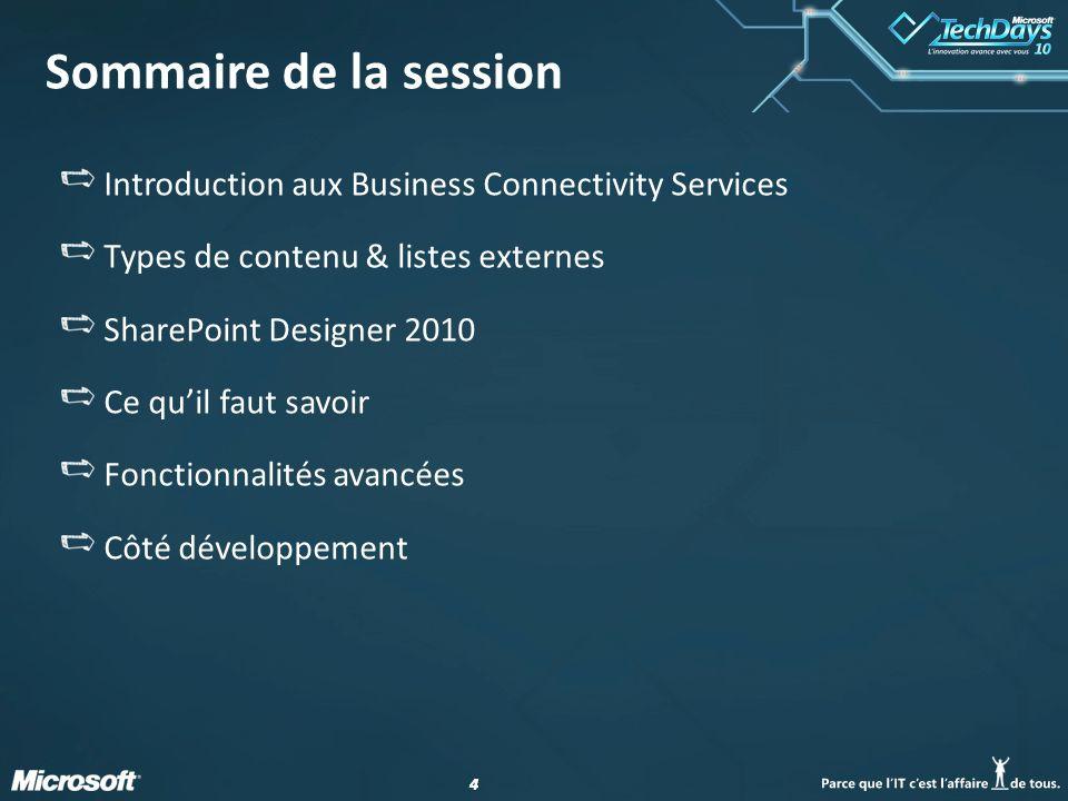 Sommaire de la session Introduction aux Business Connectivity Services