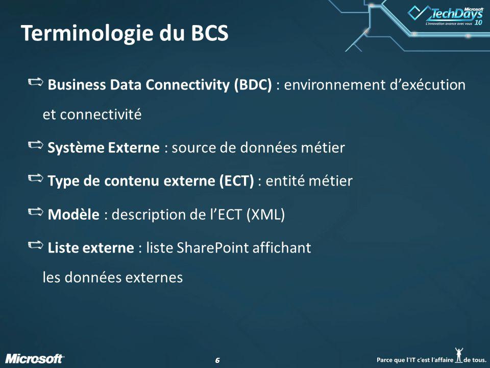Terminologie du BCS Business Data Connectivity (BDC) : environnement d'exécution et connectivité. Système Externe : source de données métier.