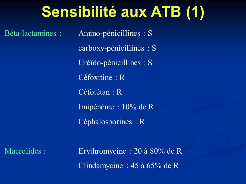 Sensibilité aux ATB (1) Béta-lactamines : Amino-pénicillines : S