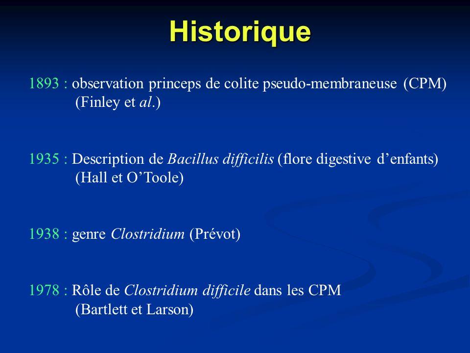 Historique1893 : observation princeps de colite pseudo-membraneuse (CPM) (Finley et al.)
