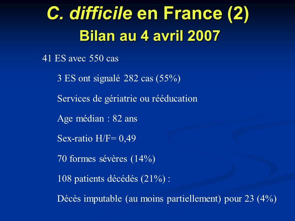 C. difficile en France (2) Bilan au 4 avril 2007