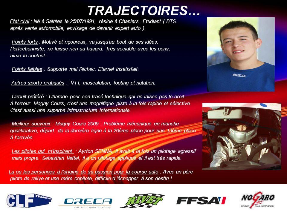 TRAJECTOIRES… Etat civil : Né à Saintes le 25/07/1991, réside à Chaniers. Etudiant ( BTS. après vente automobile, envisage de devenir expert auto ).