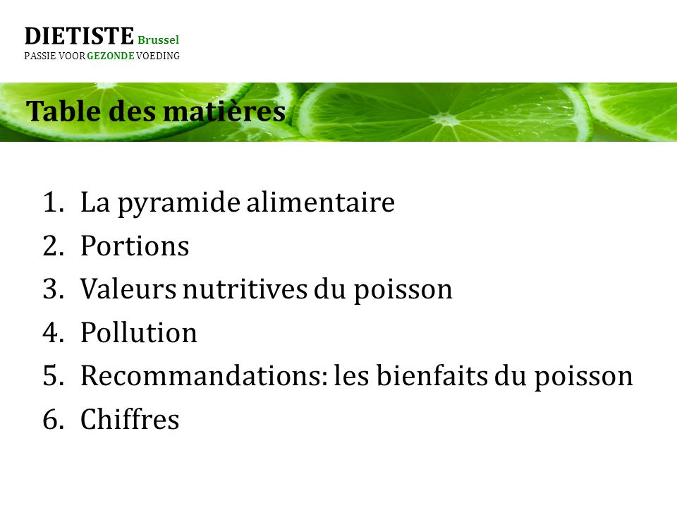 La pyramide alimentaire Portions Valeurs nutritives du poisson