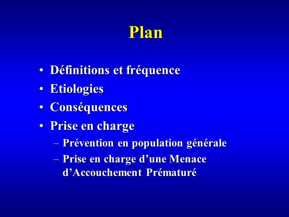 Plan Définitions et fréquence Etiologies Conséquences Prise en charge