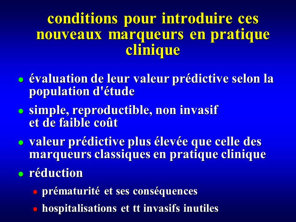 conditions pour introduire ces nouveaux marqueurs en pratique clinique