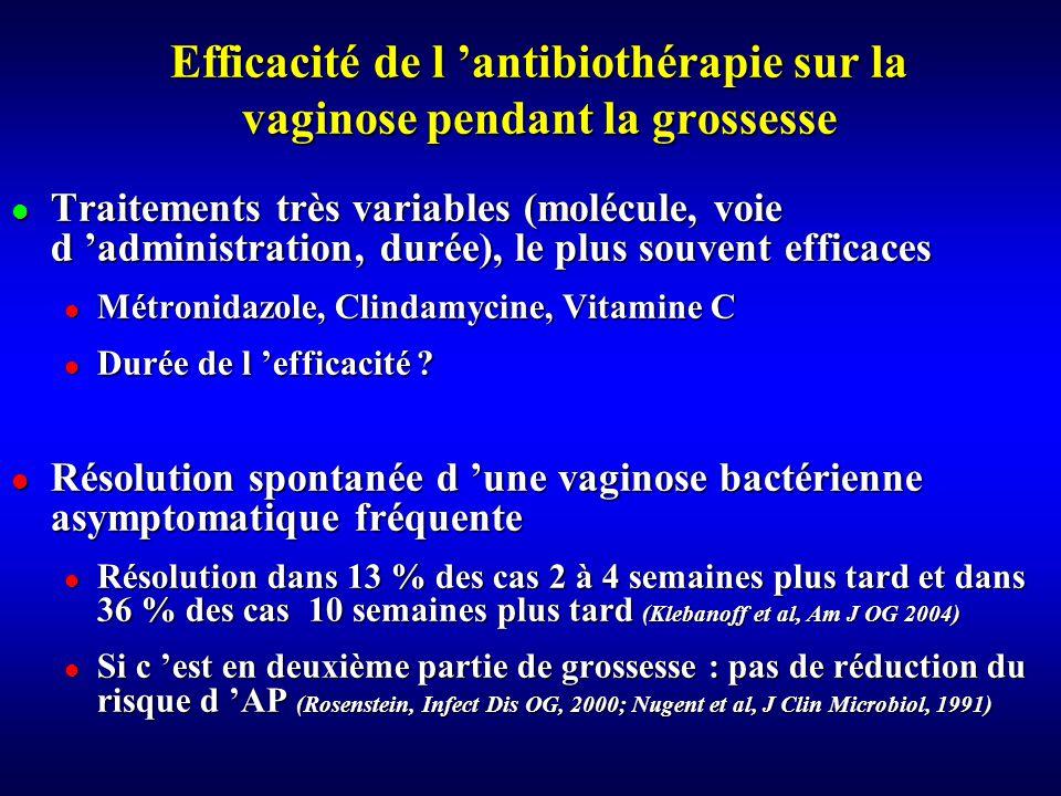 Efficacité de l 'antibiothérapie sur la vaginose pendant la grossesse