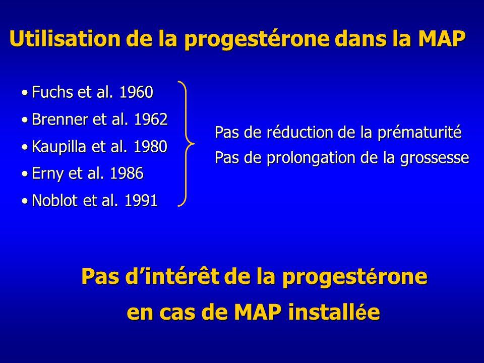 Pas d'intérêt de la progestérone