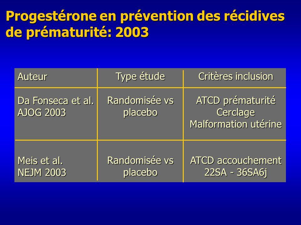 Progestérone en prévention des récidives de prématurité: 2003