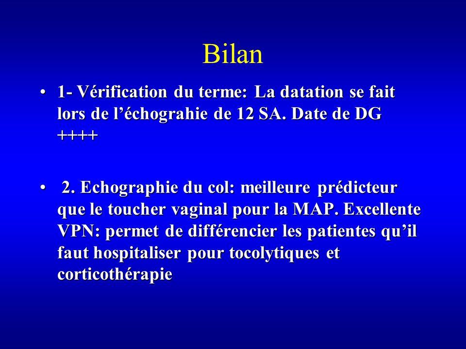 Bilan 1- Vérification du terme: La datation se fait lors de l'échograhie de 12 SA. Date de DG ++++