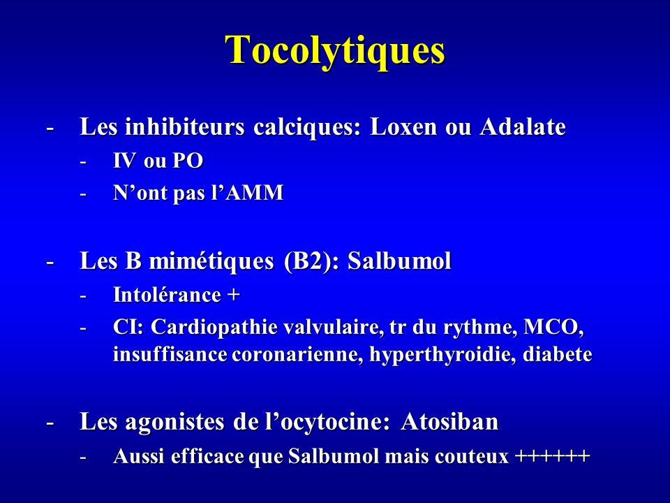 Tocolytiques Les inhibiteurs calciques: Loxen ou Adalate