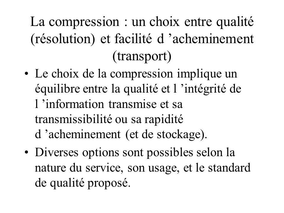 La compression : un choix entre qualité (résolution) et facilité d 'acheminement (transport)