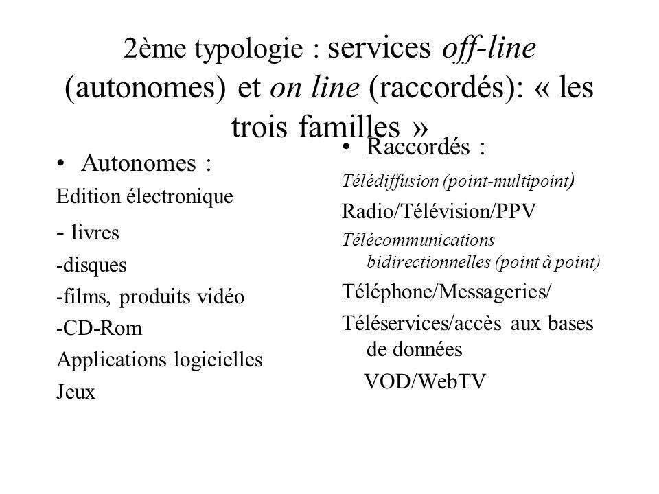 2ème typologie : services off-line (autonomes) et on line (raccordés): « les trois familles »