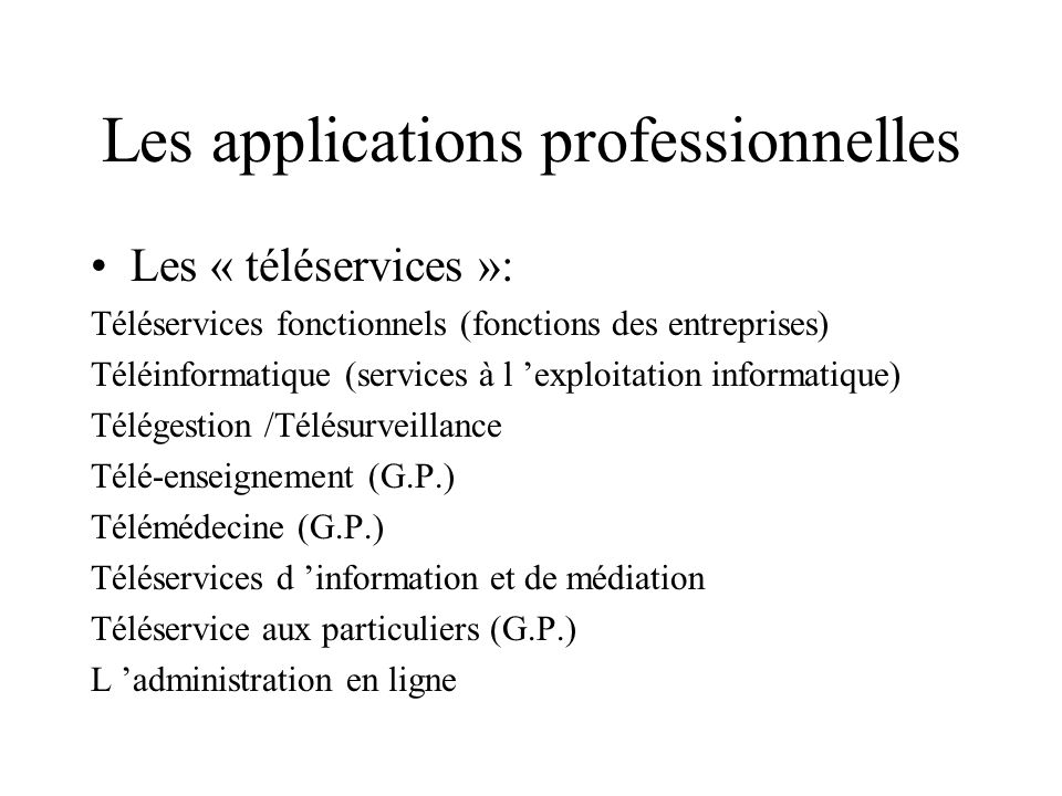 Les applications professionnelles