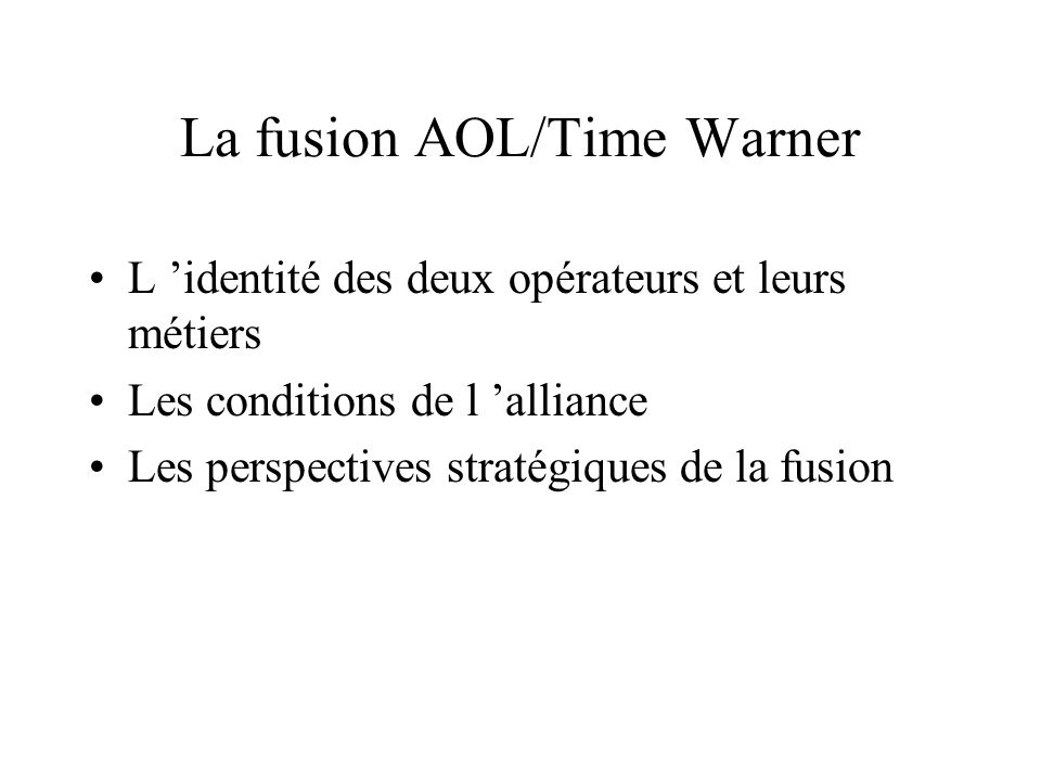 La fusion AOL/Time Warner