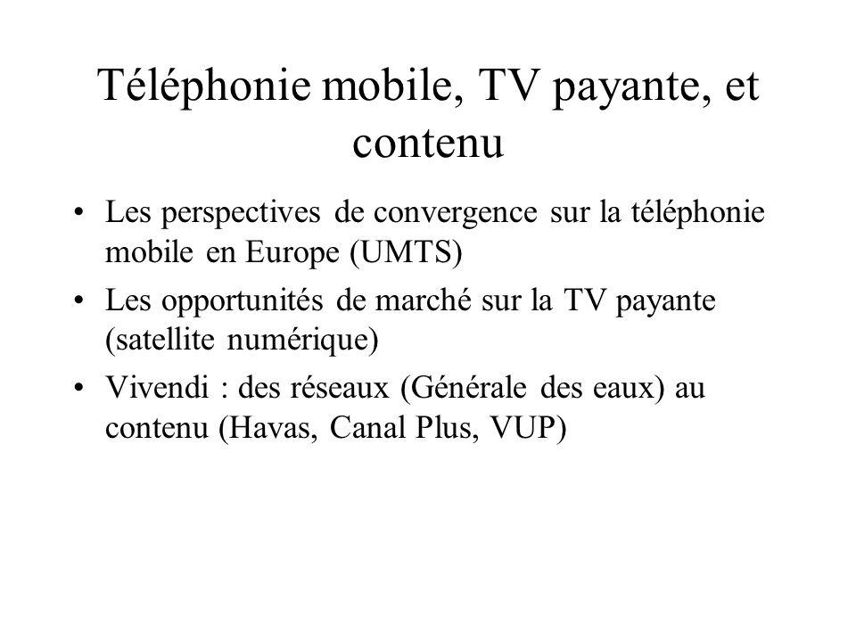 Téléphonie mobile, TV payante, et contenu