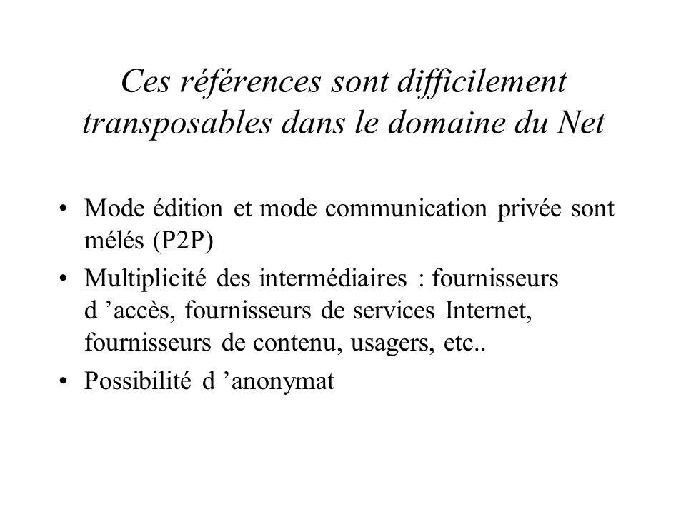 Ces références sont difficilement transposables dans le domaine du Net