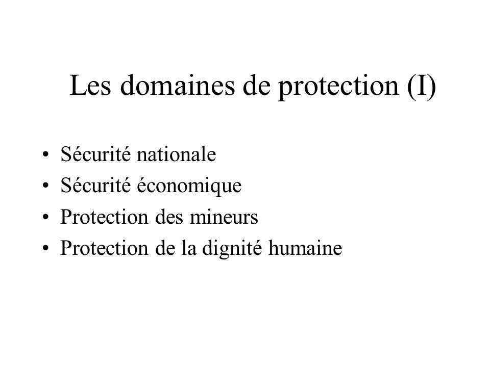 Les domaines de protection (I)