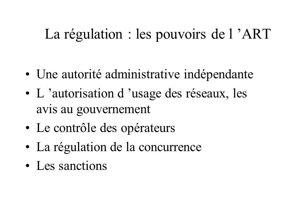 La régulation : les pouvoirs de l 'ART
