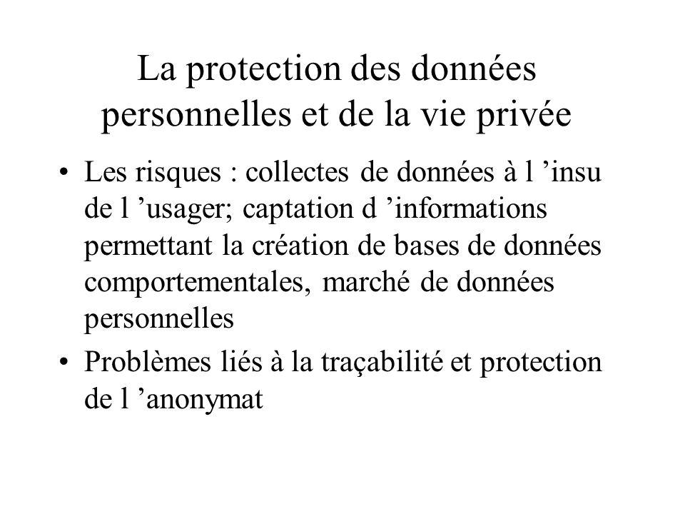 La protection des données personnelles et de la vie privée