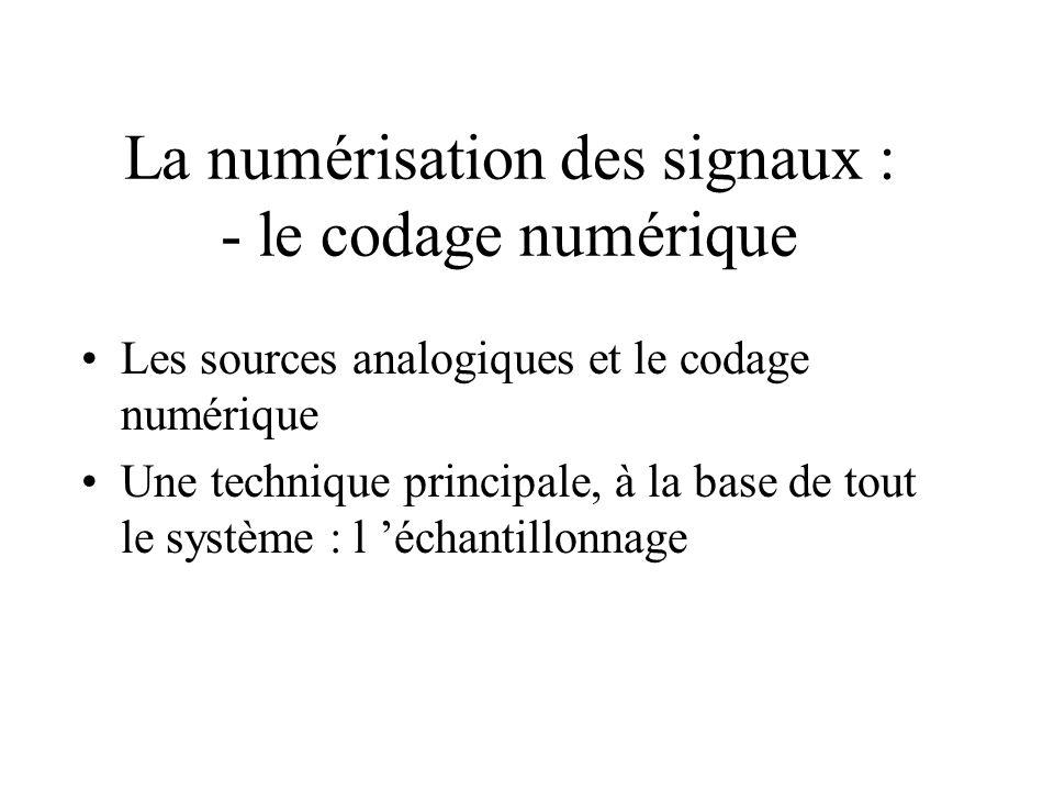 La numérisation des signaux : - le codage numérique