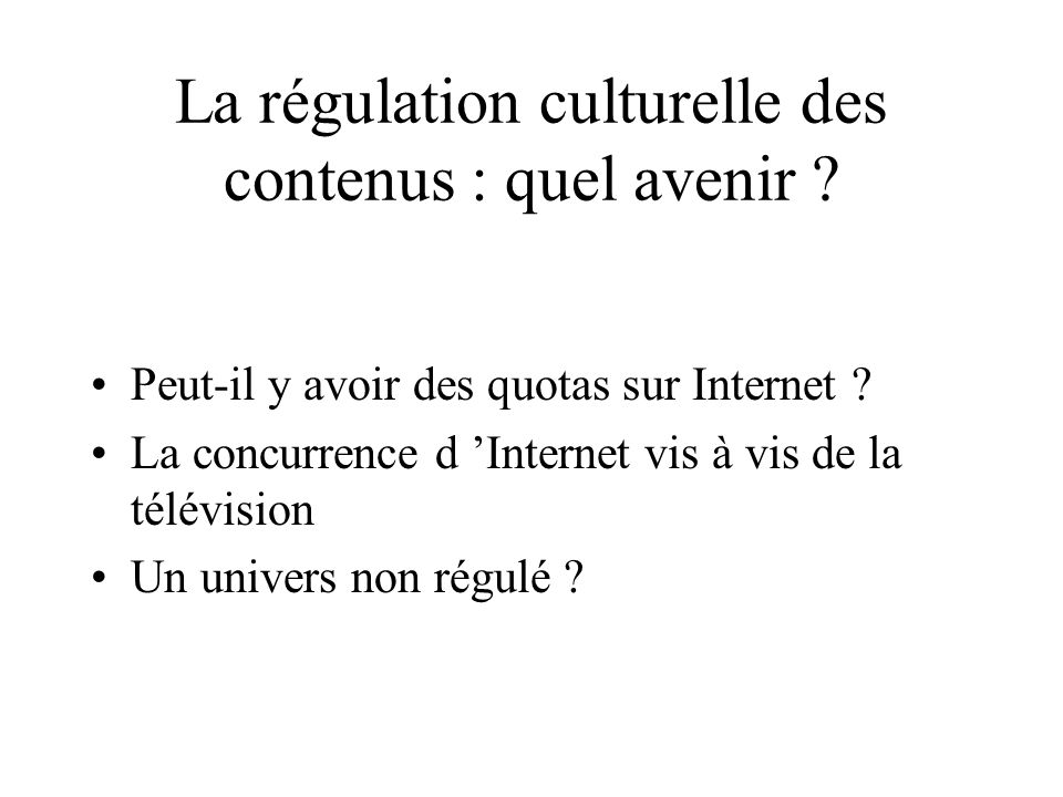 La régulation culturelle des contenus : quel avenir