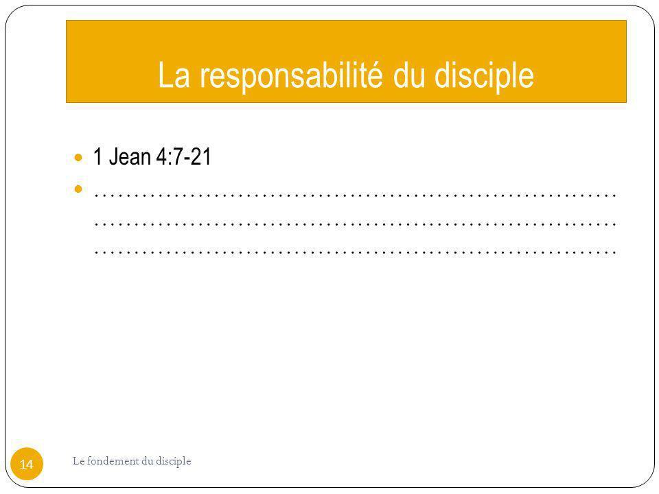 La responsabilité du disciple