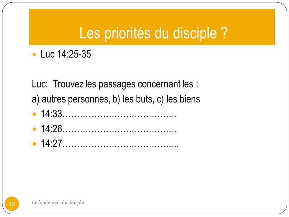 Les priorités du disciple