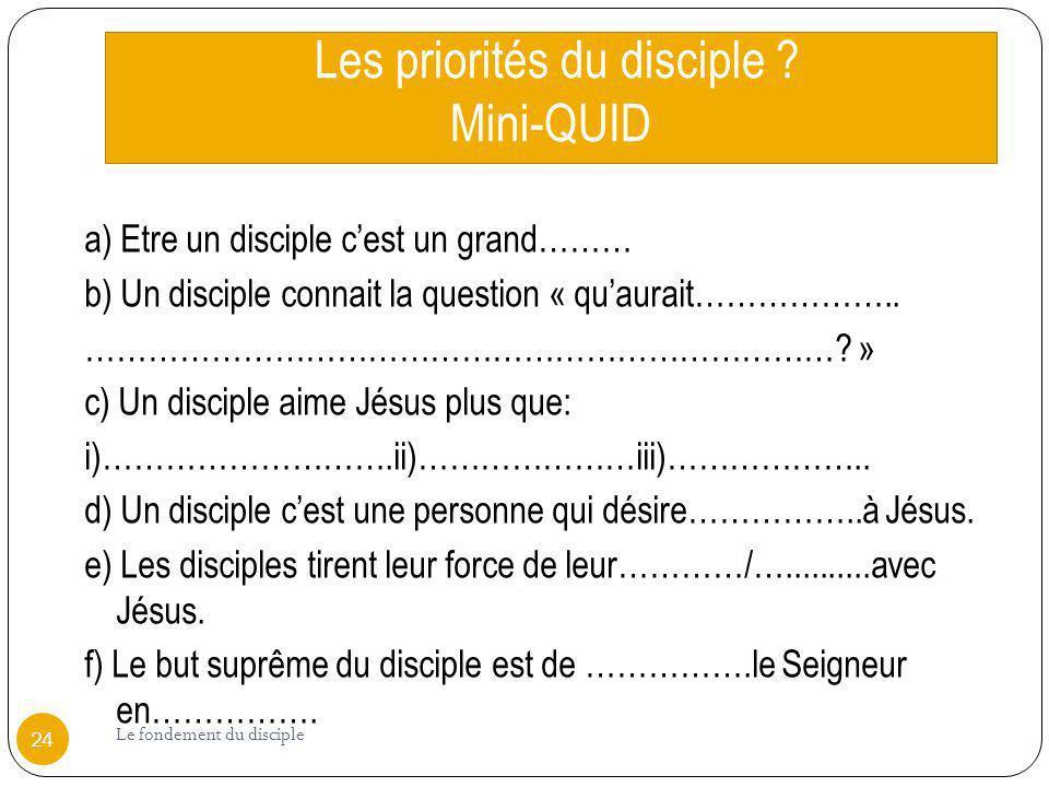 Les priorités du disciple Mini-QUID