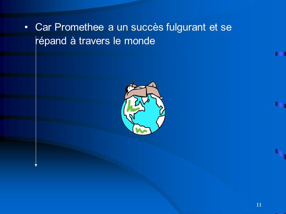 Car Promethee a un succès fulgurant et se répand à travers le monde