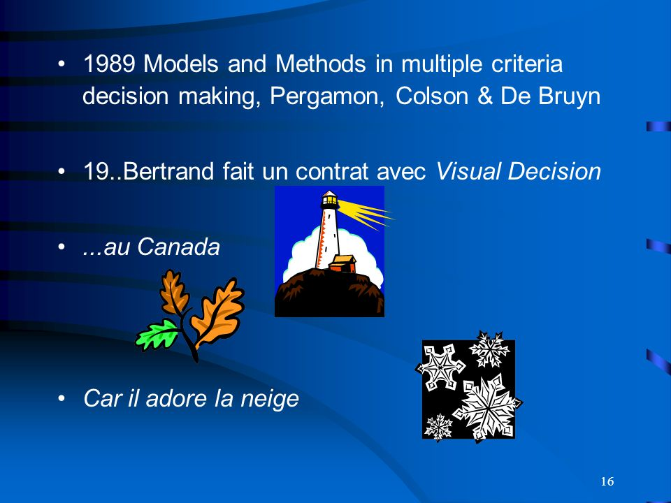 1989 Models and Methods in multiple criteria decision making, Pergamon, Colson & De Bruyn
