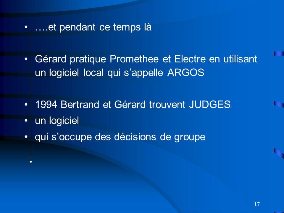 ….et pendant ce temps là Gérard pratique Promethee et Electre en utilisant un logiciel local qui s'appelle ARGOS.