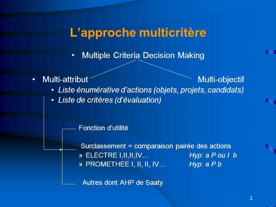 L'approche multicritère