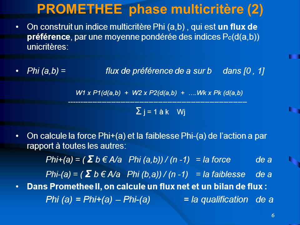 PROMETHEE phase multicritère (2)